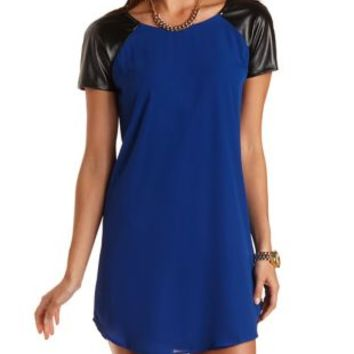 Faux Leather Raglan Sleeve Shift Dress