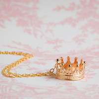 Gold CROWN Necklace Royals Queen King Fairy RING Necklace Promise Ring
