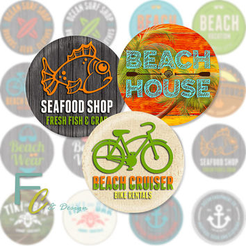 "Beach Surf 1.5"" Circles, Digital Collage Sheet, Craft Supplies, Jewelry Making, Decoupage, Wood Knobs, Pendants, Scrapbooking, Printable"