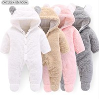 New Born Baby Clothes Winter Newborn Baby Romper For Boys Animal Fleece Soft Thicken Baby Girl Romper Hooded Baby Jumpsuit Boys
