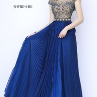 Floor Length Sherri Hill Dress with Pleated Skirt
