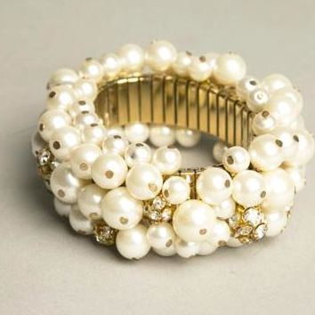 Cha Cha Bracelet Pearls Rhinestones Beaded Bangle Vintage Jewelry