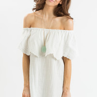 Claire White Off the Shoulder Eyelet Dress by LUSH