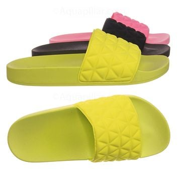 Lindy02 Lightweight Molded Footbed Slides - Women Slipper Flatform In Neon