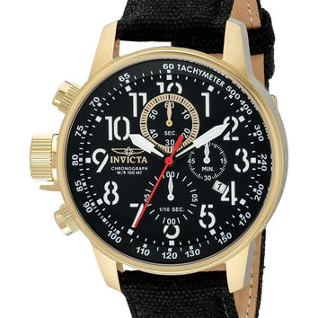 Invicta Men's 1515 I Force Collection 18k Gold Ion-Plated Watch with Black Cl...