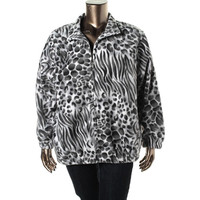 Alfred Dunner Womens Plus Fleece Animal Print Full Zip Sweater