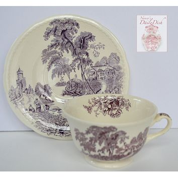 Vintage Lavender / Purple  English Transferware Teacup & Saucer Scenic Boat on River Roses Cottage