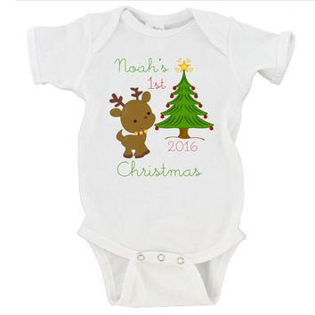 CUSTOM Babies First Christmas 2016 Gerber Onesuit ® Christmas Gift
