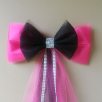 Pink and Black Tulle Bow, Sweet 16 Bow, Quincenera Bow, Party Decoration, Bridal Shower Bow, Wedding Pew Bow, Wreath Mailbox Door Decoration