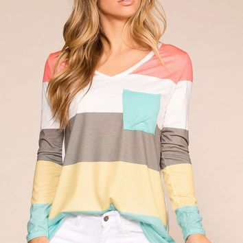 Ice Cream Dreams Colorblock Pocket Top