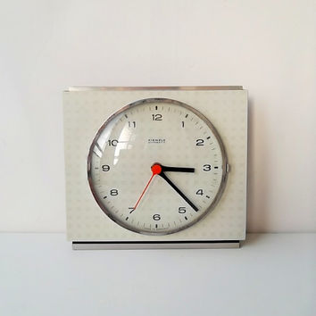 Wall clock, 1960s clock, retro clock, German clock, Kienzle clock, West German laminate clock, checked clock