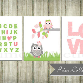 Nursery Wall Art Prints / owl theme / 8x10 inch trio / set of three / pink and green , for baby girl room decor