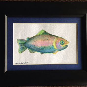 Unframed Watercolored Trout Fish Painting