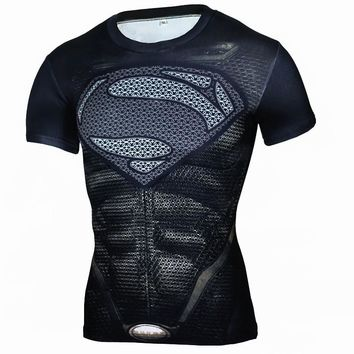 Summer Fitness Compression Shirt Men Anime Superhero Batman Captain Superman 3D  Bodybuilding Cross fit t shirt