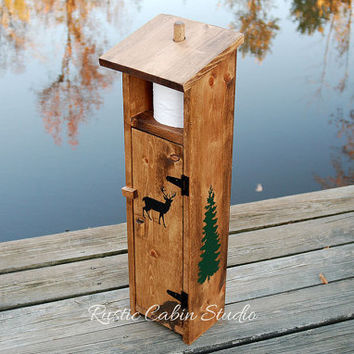 Rustic Deer Toilet Paper Holder - Outhouse with Pine Trees