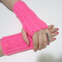 Hot Pink Wrist Warmers, Crochet Simple Fingerless Gloves, FREE US SHIPPING, Driving Gloves, Texting Gloves, Christmas Gift, Neon Pink