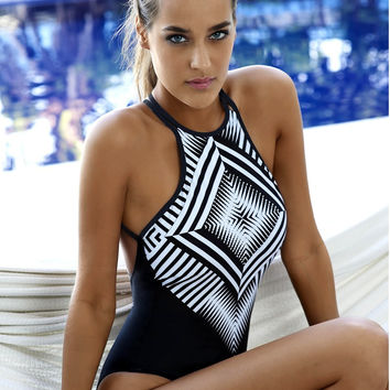 37b0c1a837 High neck halter one piece swimwear ancient print swimsuit vintage print one  piece bat
