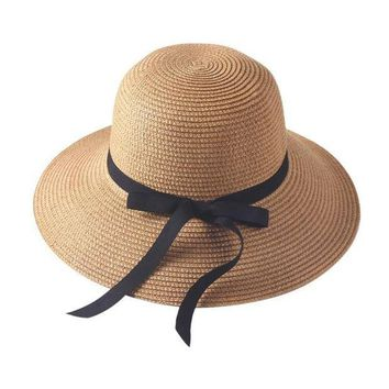 PEAP78W Women Lady Bowkont Folding Wide Brim Hat Straw Cap Summer Beach Casual Sun Hat
