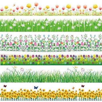 2018 spring flower baseboard wall stickers grass plants border wallpaper home bedroom nursery party decor garden style decals