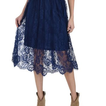 SL4170 Navy Scalooped Lace Midi Skirt