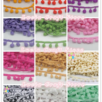 2*2yards lot 10mm Pom Pom Trim Ball Fringe Ribbon DIY Sewing Accessory Lace 17011021(10D4y)
