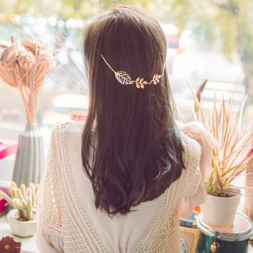 Boho Hair Jewelry For Women Hairband Headpiece Plated Gold Leaf Hairpins Hair Clip Wedding Bride Vintage Head Chain Accessories