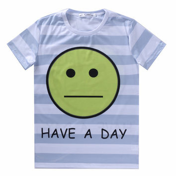 New 2016 Summer Couples 3D Funny Emoji T shirt