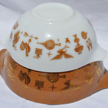 Vintage Pyrex Early American Cinderella Mixing Bowl   Set Brown Gold Leaf White  Retro