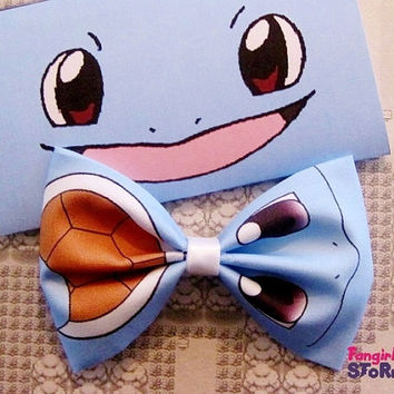 Pokemon Squirtle Hair bow or Bow tie Handmade Kawaii Gamer Bow