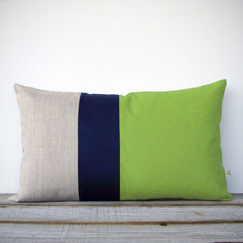 Color Block Stripe Pillow in Lime Green, Navy and Natural Linen (12x20) by JillianReneDecor - Modern Home Decor - Decorative Pillow
