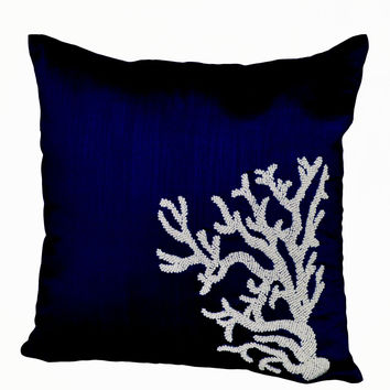 Decorative pillow -Coral Pillow with navy blue silk in beads-Oceanic pillows -Navy Blue pillows -Embroidered Pillow-20x20-Couch pillow cover