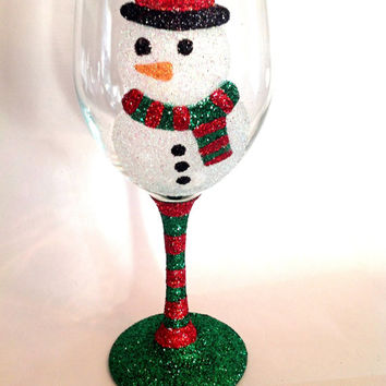 Glitter snowman wine glass