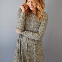Winter Solstice Rib Knit Dress Olive
