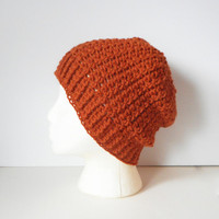 Wool Blend Skullcap Beanie in Pumpkin, ready to ship.