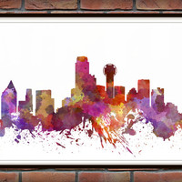 Dallas Skyline Print, Watercolor Art, Dallas Art, City Poster, City Skyline, Wall Art, Cityscape, Home Decor *16*