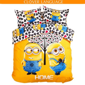 3D Cartoon Minion Boy Girl's Bedding Set Cartoon Printing Bed Sheet Quilt Cover and Pillow Case 4pcs Full Queen King Size