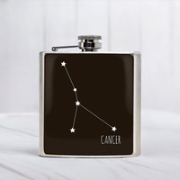 Cancer constellation flask June Birthday gift Cancer zodiac Gifts Cancer birthday gifts Accessory Stainless steel 6 oz Hip Flask