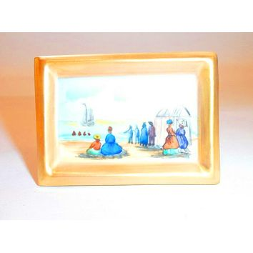 Painting Beach Picture Easel Renoir Like Scene Limoges Box