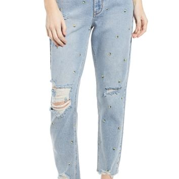 Tinsel Embroidered Ripped Mom Jeans (Liv) | Nordstrom