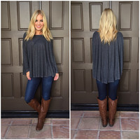 Charcoal Ribbed Oversize Top