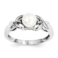 Sterling Silver Freshwater Cultured Pearl & Diamond Ring