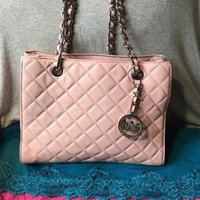 New Michael Kors Susannah Quilted Pink Carryall Snap Chain Satchel Hobo Tote