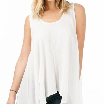 ANGL | Frayed Trim Long Flowy Tank Top