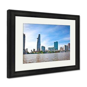 Framed Print, Panoramic View Business Center Ho Chi Minh City Saigon Vietnam