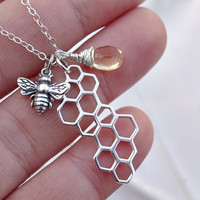 Sterling silver bee & Honey comb charm by SimplyBrieDesigns