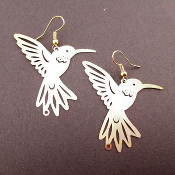Hummingbird Silhouette Cut Out Shaped Dangle Earrings in Gold | Animal Jewelry