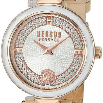 Versus by Versace Women's 'COVENT GARDEN CRYSTAL' Quartz Stainless Steel and Leather Casual Watch, Color:Rose Gold-Toned (Model: VSPCD2117)