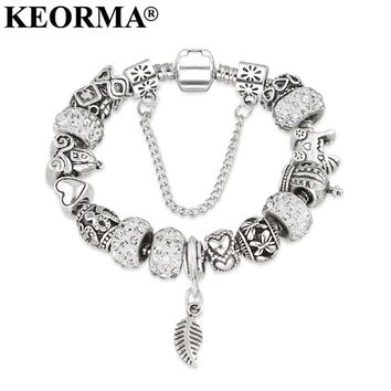 KEORMA Rhinestone European Beads Charm Women Bracelets Fashion Charm Bracelets Bangles For Women Jewelry With Beautiful Gift Bag