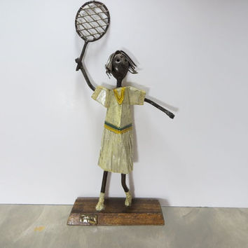 Manuel Felguerez Tennis Player Metal Art Paper Mache Art Spanish Art Modern Art Metal Sculpture