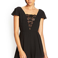 FOREVER 21 Pleated Floral Lace Romper Black